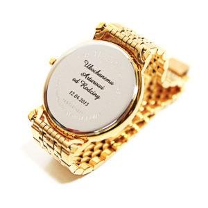 złoty zegarek z grawerowanie